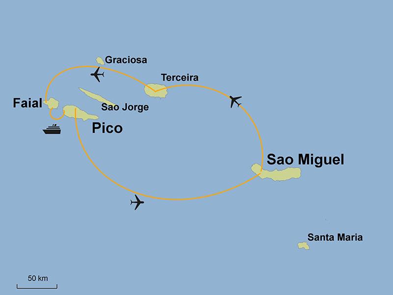 Azoren Karte.Azoren Rundreise Best Of Azoren Terceira Faial Pico Und Sao