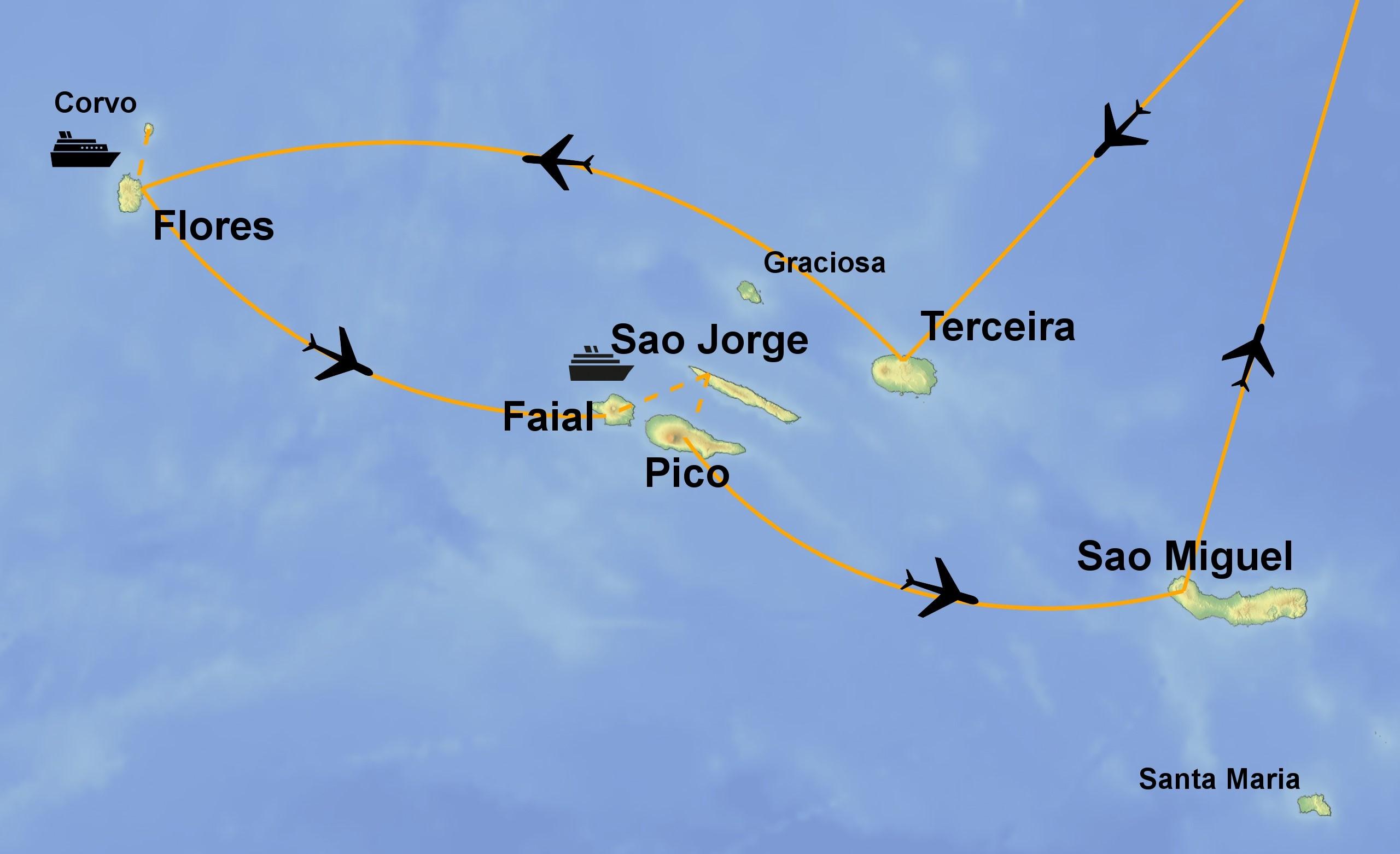 Azoren Karte.Die Vielfalt Der Azoren Auf Sechs Inseln Jetzt Buchen Bei Picotours