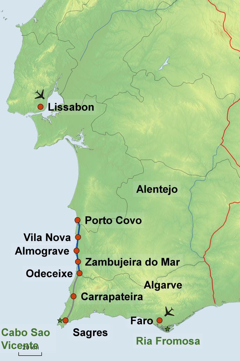 Flughafen Algarve Karte.Rota Vicentina Fernwandern Auf Dem Fischerweg In Portugal Jetzt